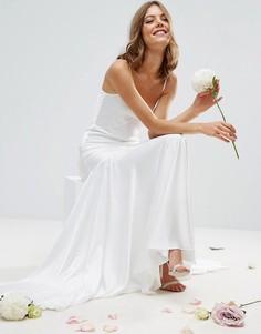 Платье макси на тонких бретельках со вставками и годе ASOS BRIDAL - Белый