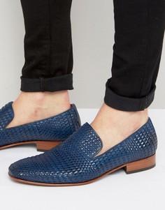 Плетеные кожаные лоферы в строгом стиле Jeffery West Yung - Синий