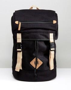 Черный походный рюкзак из мельтона с контрастной отделкой ASOS - Черный 60c90b61ec3