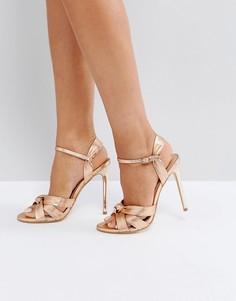 Босоножки на каблуке цвета розового золота Office Hollie - Золотой