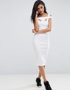 Облегающее платье миди в рубчик ASOS - Белый
