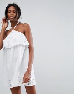 Пляжный сарафан с завязкой на шее и вышивкой ASOS - Белый