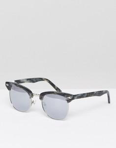 Солнцезащитные очки с оправой в стиле ретро и серебристыми блестящими стеклами Pala - Мульти