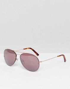 Розовые солнцезащитные очки-авиаторы без оправы Pala - Розовый