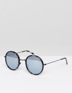 Круглые солнцезащитные очки с серебристыми блестящими стеклами Pala - Черный