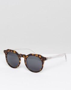 Круглые солнцезащитные очки в коричневой черепаховой оправе Pala - Коричневый