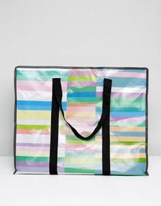 Большая пляжная сумка колор блок с контрастной окантовкой ASOS HERO - Мульти
