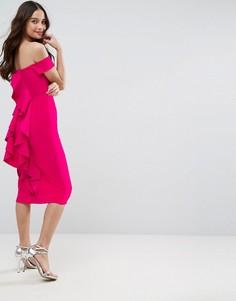 Платье миди в рубчик ASOS - Розовый