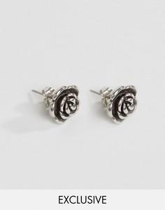 Серьги-гвоздики с розами Reclaimed Vintage - Серебряный