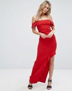 Платье макси с открытыми плечами и оборкой Missguided - Красный