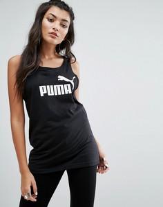 Черная обтягивающая майка с логотипом Puma - Черный