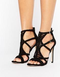 Босоножки на каблуке с плетеными ремешками ALDO - Черный