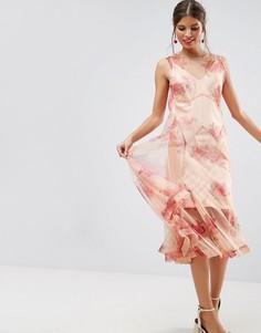 Сетчатое платье миди с цветочным принтом и юбкой годе ASOS SALON - Розовый