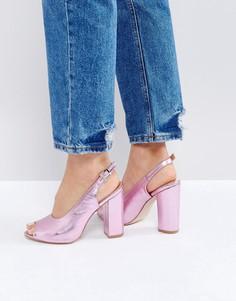 Розовые босоножки на каблуке с открытой пяткой RAID - Розовый