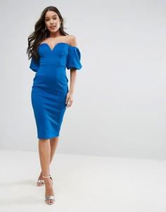 Платье миди с открытыми плечами ASOS - Синий