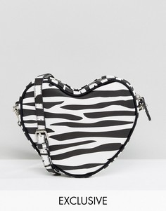 Эксклюзивная сумка через плечо в форме сердца с принтом в зебру Lazy Oaf - Черный