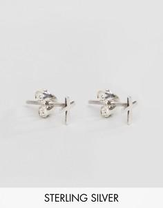 Серебряные серьги-гвоздики с крестом DesignB эксклюзивно для ASOS - Серебряный