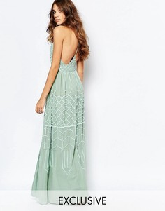 Декорированное платье макси с глубоким вырезом и открытой спиной Frock and Frill - Зеленый