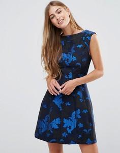 Короткое приталенное платье из жаккардовой ткани See U Soon - Синий