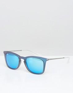 Вайфареры с синими зеркальными стеклами Ray-Ban 0RB4221 - Черный