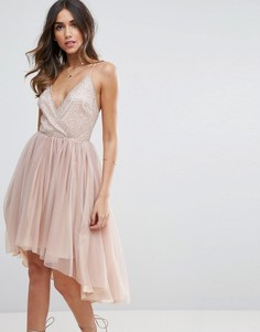 Платье миди с топом с сеточкой и юбкой из тюля ASOS - Бежевый