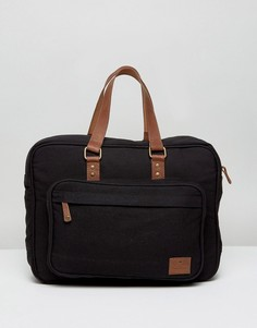Парусиновый портфель с кожаной отделкой ASOS - Черный
