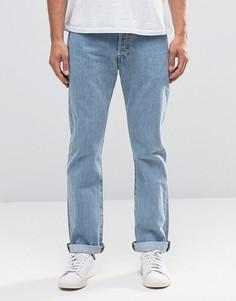 Прямые светлые джинсы с эффектом поношенности Levis Jeans 501 - Синий