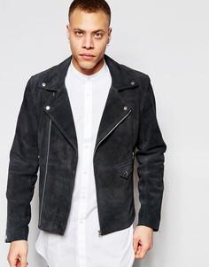 Замшевая байкерская куртка Barneys - Серый Barneys Originals