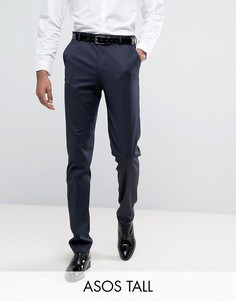 Темно-синие брюки слим под смокинг ASOS TALL - Темно-синий