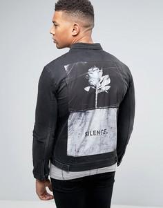 Джинсовая куртка с принтом на нашивке сзади Religion - Черный