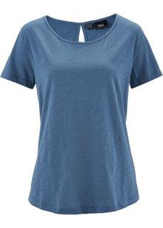 Футболка из материала фламе с коротким рукавом (синий джинсовый) Bonprix