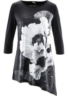 Удлиненная футболка (серый/черныйбелый) Bonprix