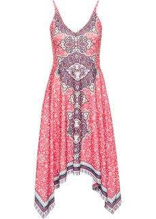 Трикотажное платье с принтом и аппликациями из бусин (коралловый с рисунком) Bonprix
