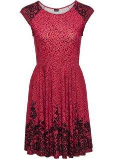 Трикотажное платье с кружевным узором (красный/черный с рисунком) Bonprix