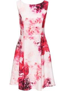 Трикотажное платье с принтом (кремовый/ярко-розовый/красная ягода с рисунком) Bonprix