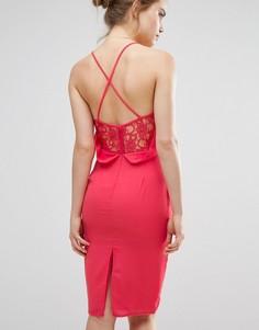 Платье миди на бретельках с удлиненной кружевной спинкой Elise Ryan - Розовый