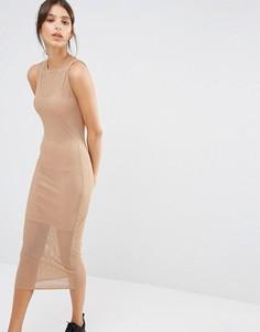 Сетчатое двухслойное платье миди Missguided - Рыжий