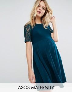 Платье мини для беременных с плиссировкой и кружевом ASOS Maternity - Синий 8855109be55