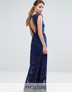 Платье макси с выжженным узором, открытой спиной и кружевом Dark Pink - Темно-синий