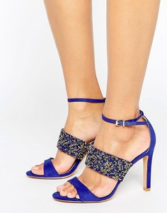 Босоножки на каблуке с ремешками и со стразами Forever Unique Willow - Синий
