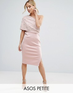 Платье-футляр миди на одно плечо ASOS PETITE - Розовый