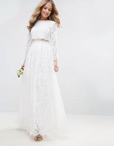 Кружевное платье макси с кроп-топом и длинными рукавами ASOS BRIDAL - Белый