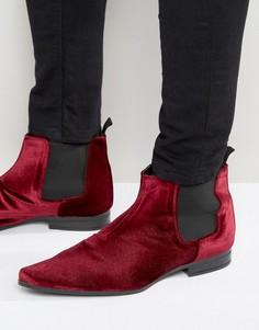 Бордовые бархатные ботинки челси ASOS - Красный