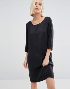 Шелковое цельнокройное платье Selected Sinca - Черный