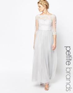 Платье макси с широким вырезом и юбкой из тюля Chi Chi London Petite - Серый