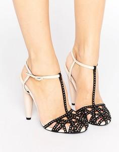 Декорированные босоножки на каблуке с решетчатой отделкой и ремешком вокруг щиколотки Little Mistress - Черный