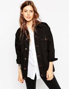 Черная джинсовая куртка‑герлфренд с контрастными строчками ASOS - Черный