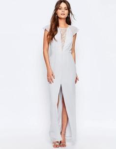 Платье макси с кружевной вставкой и оборками на рукавах Elise Ryan - Серый