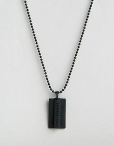 Черное матовое ожерелье с солдатским жетоном с логотипом Chained & Able - Черный