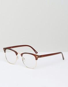 Очки в стиле ретро в коричневой оправе с прозрачными линзами ASOS - Коричневый